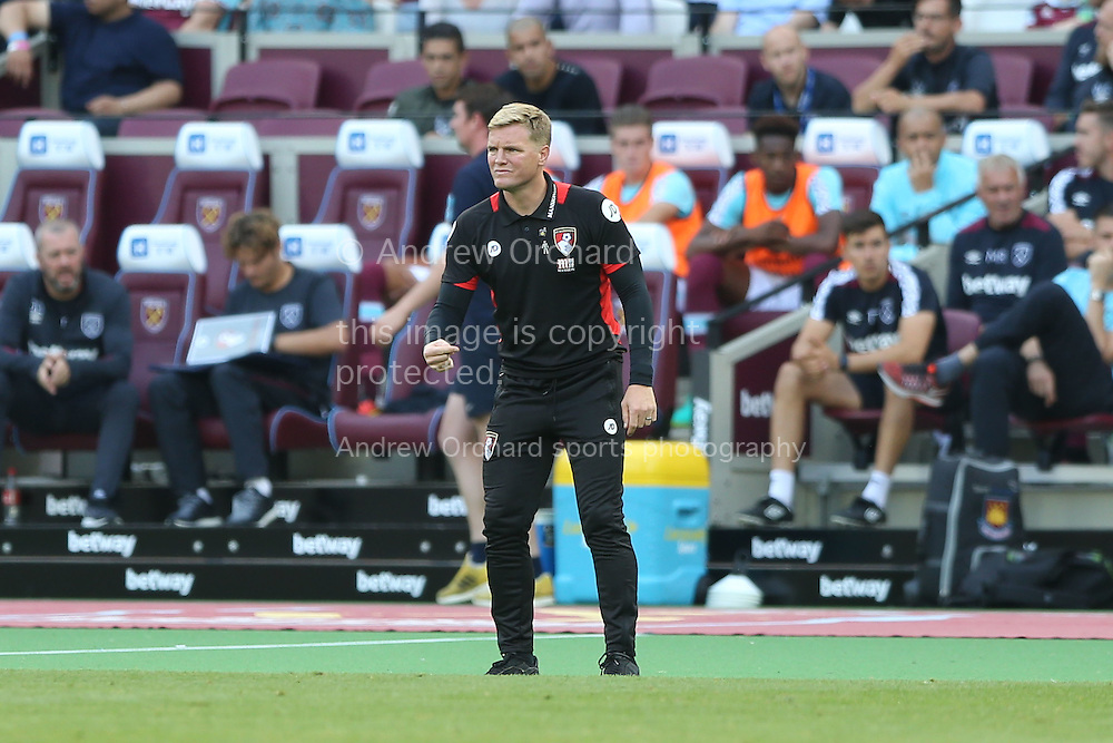 Eddie Howe, the AFC Bournemouth manager looks on from the touchline. Premier league match, West Ham Utd v AFC Bournemouth at the London Stadium, Queen Elizabeth Olympic Park in London on Sunday 21st August 2016.<br /> pic by John Patrick Fletcher, Andrew Orchard sports photography.