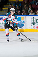 KELOWNA, CANADA - JANUARY 24: Zach Franko #9 of the Kelowna Rockets skates on the ice against the Seattle Thunderbirds at the Kelowna Rockets on January 24, 2013 at Prospera Place in Kelowna, British Columbia, Canada (Photo by Marissa Baecker/Shoot the Breeze) *** Local Caption ***