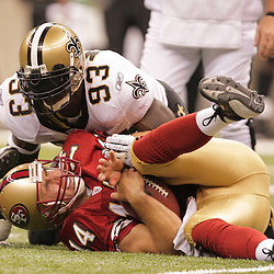 2008 September 28: New Orleans Saints defensive end Bobby McCray (93) sacks San Francisco 49ers quarterback J.T. O'Sullivan (14) during the NFL week four game between the San Francisco 49ers and the New Orleans Saints at the Louisiana Superdome in New Orleans, LA.