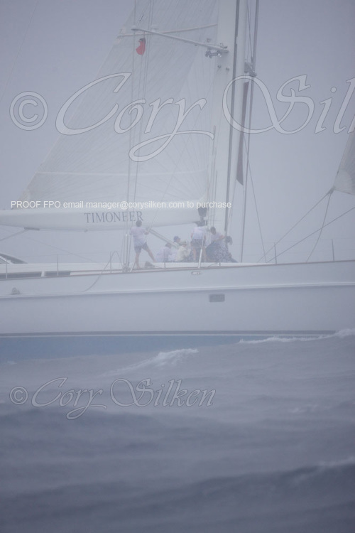 Timoneer racing through a squall at the Superyacht Cup Regatta.