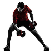 one  man exercising weight training on white background