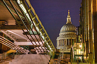 st pauls cathedral and millnnium bridge, london in may 2008, england.