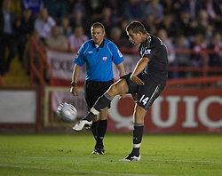 EXETER, ENGLAND - Wednesday, August 24, 2011: Liverpool's Jordan Henderson in action against Exeter City during the Football League Cup 2nd Round match at St James Park. (Pic by David Rawcliffe/Propaganda)