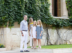 July 31, 2017 - Mallorca, SPAIN - 31-07-2017 Spain Queen Letizia and King Felipe and Princess Leonor and Princess Sofia pose for the media during the summer holiday at the Marivent palace in Palma de Mallorca..© PPE/Nieboer.Credit: PPE/face to face.- No Rights for Netherlands  (Credit Image: © face to face via ZUMA Press)