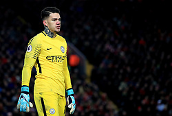 Manchester City goalkeeper Ederson appears dejected during the Premier League match at Anfield, Liverpool.