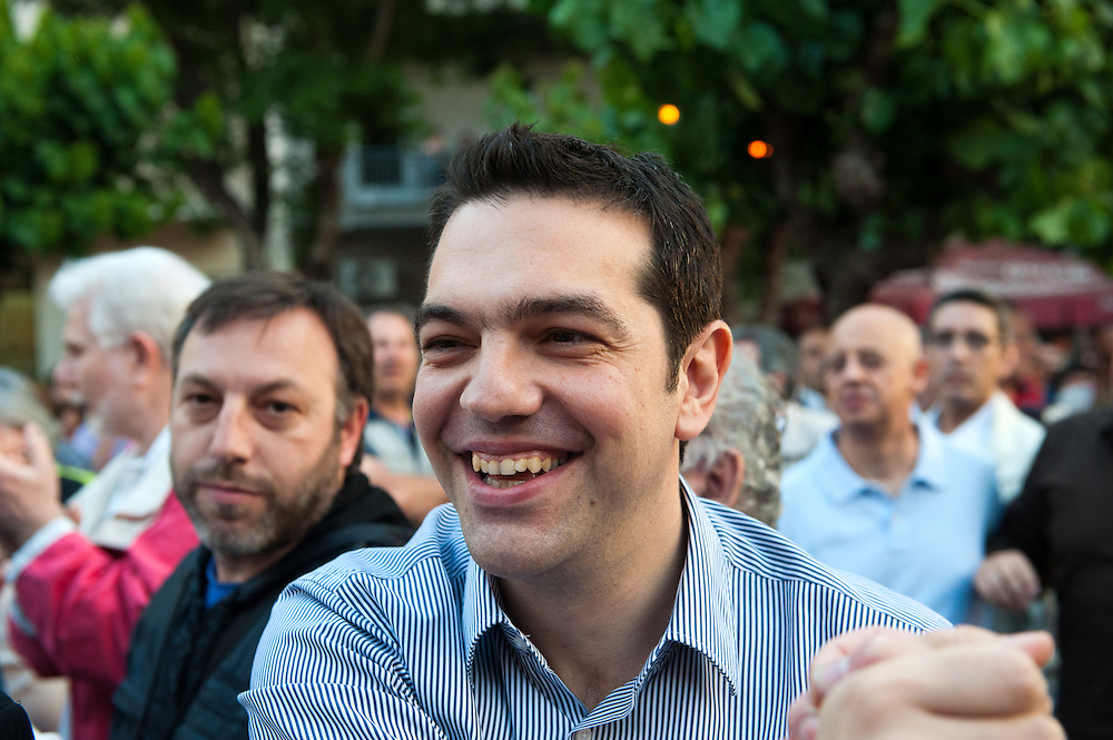 Alexis Tsipras coming to the open Assembly of SYRIZA in Aghia Ekaterini Square, in the Kato Petralona neighbourhood  of Athens.