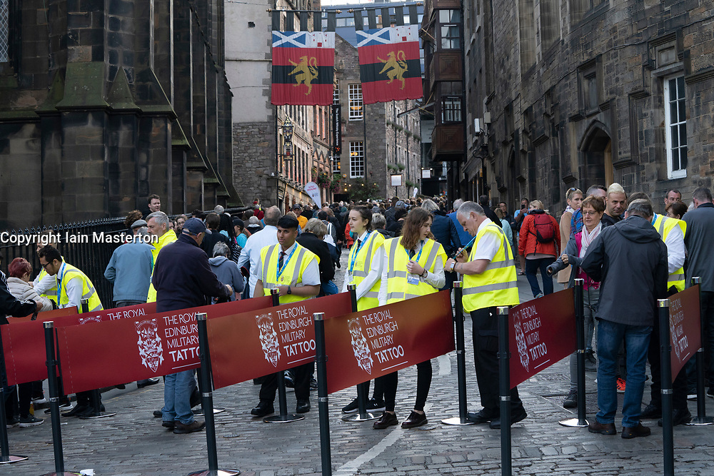 Edinburgh, Scotland, UK. 5 August, 2019.  The Royal Edinburgh Military Tattoo forms part of the Edinburgh International festival. Pictured; Security checkpoint on the Royal Mile at entrance to the Military Tattoo
