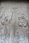 Israel, Haifa, the Stella Maris Carmelite Church, Mt. Carmel Details of the engraved door with Mary and Baby Jesus
