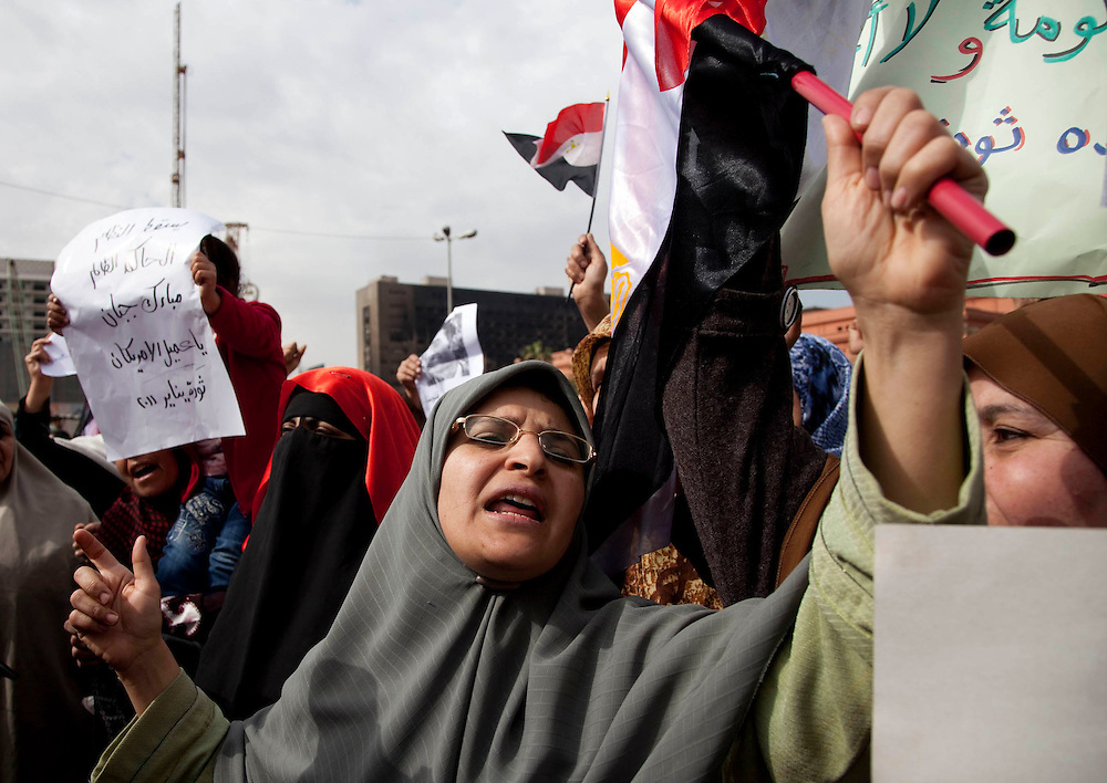 Anti-government protesters gather in Tahrir Square in Cairo, Egypt, on Sunday, Feb. 6, 2011.