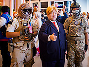 "05 NOVEMBER 2017 - BANGKOK, THAILAND: A ""Donald Trump"" cosplayer during a cosplay event at Paragon, an upscale shopping mall in the center of Bangkok.     PHOTO BY JACK KURTZ"