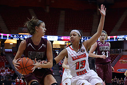 29 January 2017: Kylie Giebelhausen defended by Katrina Beck during an College Missouri Valley Conference Women's Basketball game between Illinois State University Redbirds the Salukis of Southern Illinois at Redbird Arena in Normal Illinois.