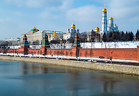 Close up view of the Kremlin from the banks of the Moskva River in Moscow, Russia.