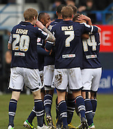 Picture by David Horn/Focus Images Ltd +44 7545 970036.16/02/2013.James Henry (right).of Millwall celebrates scoring his side's first goal with team mates during the The FA Cup match at Kenilworth Road, Luton.
