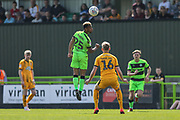 Forest Green Rovers Junior Mondal(25) heads the ball during the EFL Sky Bet League 2 match between Forest Green Rovers and Cambridge United at the New Lawn, Forest Green, United Kingdom on 22 April 2019.