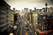 View of East Broadway in Chinatown from the Manhattan Bridge, Manhattan, New york, 2010.