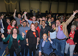 © Licensed to London News Pictures.  08/06/2017; Bristol, UK. General Election 2017; KERRY MCCARTHY celebrates with Labour supporters as she wins Bristol East for Labour at City of Bristol Academy, beating Tory candidate Theo Clarke. Picture credit : Simon Chapman/LNP