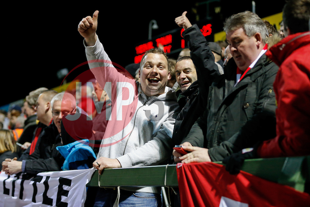 Bristol City fans celebrate after Kieran Agard scores a goal to make it 0-1 - Photo mandatory by-line: Rogan Thomson/JMP - 07966 386802 - 10/03/2015 - SPORT - FOOTBALL - Yeovil, England - Hush Park Stadium - Yeovil Town v Bristol City - Sky Bet Football League One.