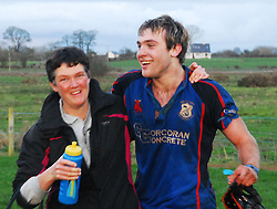 Sue O'Toole (Westport Physio) and Kevin Hastings show their delight after winning the Connacht league final over Galwegians in tuam on saturday evening...Pic Conor McKeown