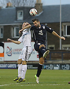 Peter MacDonald outjumps Kevin Moon - Raith Rovers v Dundee,  SPFL Championship at Starks Park<br /> <br />  - &copy; David Young - www.davidyoungphoto.co.uk - email: davidyoungphoto@gmail.com