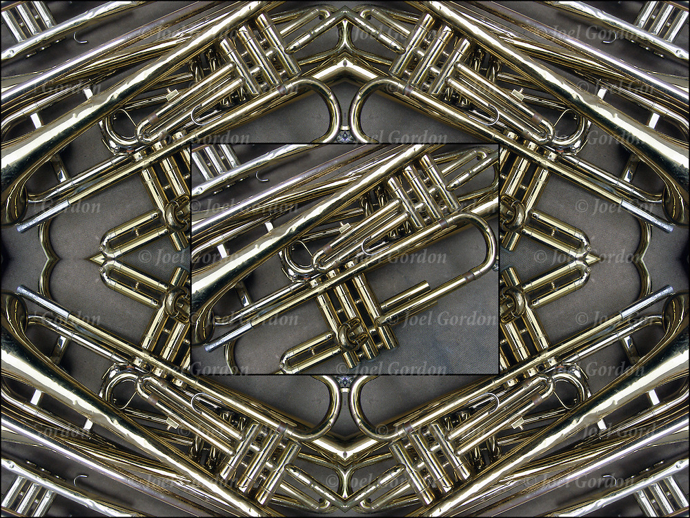 Trumpets  brass abstract patterns Computer abstract of altered and enhanced  trumpets as digital computer art.<br /> <br /> Two or more layers were used to enhance, alter, manipulate the image, creating an abstract surrealistic mirrored symmetry.