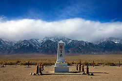 Memorial at the Japanese cemetery with Sierra Nevada Mountains in the background, Manzanar National Historic Site, Independence, California