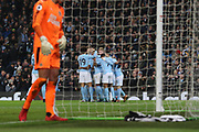 City's first goal from Sergio Aguero during the Premier League match between Manchester City and Newcastle United at the Etihad Stadium, Manchester, England on 20 January 2018. Photo by George Franks.