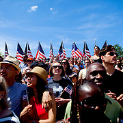 NEW YORK, N.Y. - JUNE 13, 2015: Supporters of Hillary Clinton wave American flags at Four Freedoms Park on Roosevelt Island while waiting to hear Hillary Clinton give the first public speech of her presidential campaign. CREDIT: Sam Hodgson for The New York Times
