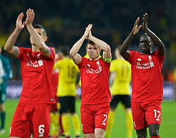 DORTMUND, GERMANY - Thursday, April 7, 2016: Liverpool's James Milner and Mamadou Sakho after the 1-1 draw against Borussia Dortmund during the UEFA Europa League Quarter-Final 1st Leg match at Westfalenstadion. (Pic by David Rawcliffe/Propaganda)