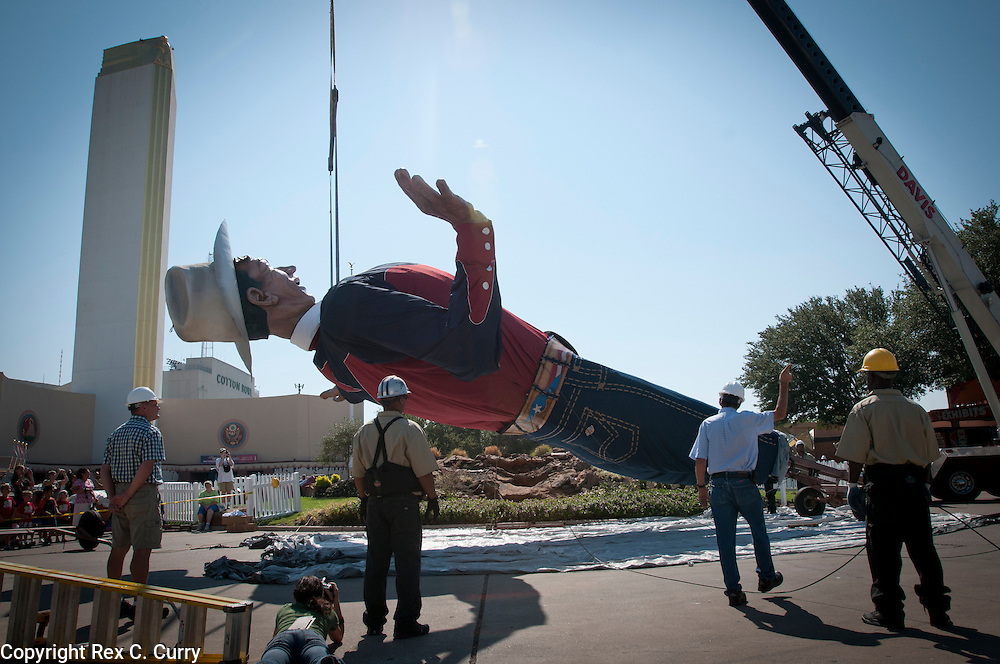 Big Tex being raised for the 125th anniversary of the State Fair of Texas on Sep. 24, 2011.