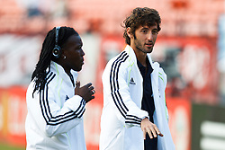 August 4, 2010; San Francisco, CA, USA;  Real Madrid midfielder Royston Drenthe (left) and midfielder Esteban Granero (11) before the game against Club America at Candlestick Park. Real Madrid defeated Club America 3-2.