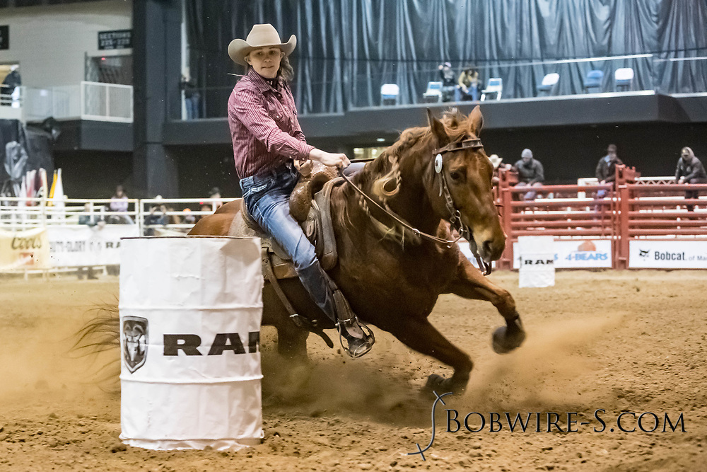 Barrel racer Nikki Hansen makes her run during slack at the Bismarck Rodeo on Saturday, Feb. 3, 2018. She had a time of 18.13 seconds. This photo and more from most runs are available at Bobwire-S.com.