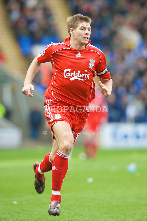 BOLTON, ENGLAND - Sunday, March 2, 2008: Liverpool's captain Steven Gerrard MBE in action against Bolton Wanderers during the Premiership match at the Reebok Stadium. (Photo by David Rawcliffe/Propaganda)