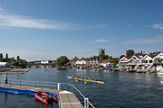 """Henley on Thames, United Kingdom, 4th July 2018, Wednesday, General View, """"Regatta Time"""", St Mary's Church. Tower,  first day of the annual,  """"Henley Royal Regatta"""", Henley Reach, River Thames, Thames Valley, England, © Peter SPURRIER,"""