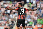 AFC Bournemouth's striker Callum Wilson shouts for a free kick during the Barclays Premier League match between Bournemouth and Sunderland at the Goldsands Stadium, Bournemouth, England on 19 September 2015. Photo by Mark Davies.