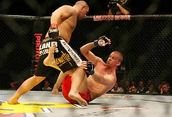 Stefan Struve of the Netherlands(r) battles with Dennis Stojnic  (BOS HERZ). Cologne, Germany,  Ultimate Fighting Championship.