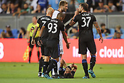 San Jose Earthquakes defender Guram Kashia (37) gestures to Philadelphia Union forward Kacper Przybylko (23) during an MLS soccer match won by Philadelphia 2-1, Wednesday, Sept. 25, 2019, in San Jose, Calif. (Peter Klein/Image of Sport)