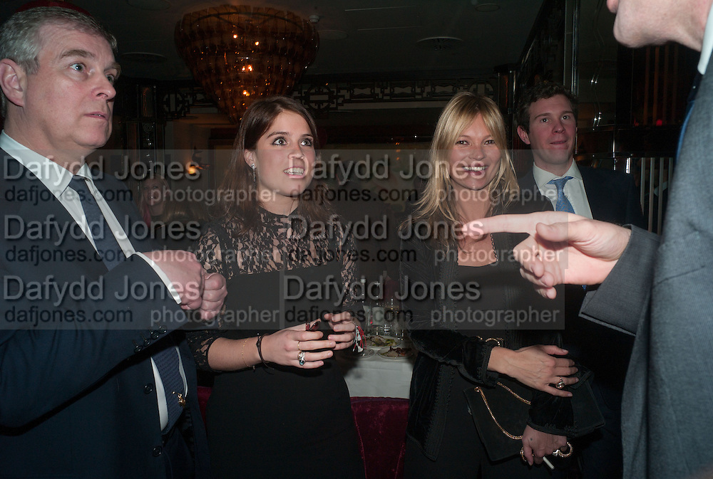 PRINCE ANDREW; PRINCESS EUGENIE OF YORK; KATE MOSS, Chinese New Year dinner given by Sir David Tang. China Tang. Park Lane. London. 4 February 2013.