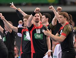 11.03.2016, Leipzig, GER, Handball L&auml;nderspiel, Deutschland vs Katar, Herren, im Bild Fabian Wiede (GER #10) ballt die Faust zum Jubel // during the men's Handball international Friendlies between Germany and Qatar in Leipzig, Germany on 2016/03/11. EXPA Pictures &copy; 2016, PhotoCredit: EXPA/ Eibner-Pressefoto/ Modla<br /> <br /> *****ATTENTION - OUT of GER*****