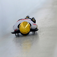 27 February 2007:  Anja Huber of Germany slides through the Chicane in the 3rd run at the Women's Skeleton World Championships competition on February 27 at the Olympic Sports Complex in Lake Placid, NY.