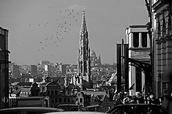 BRUSSELS, BELGIUM - Brussels Skyline with the spire of the Brussels City Hall on the Grand Place. (Photo © Jock Fistick)