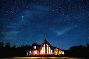 Stars over log cabin in upstate New York.