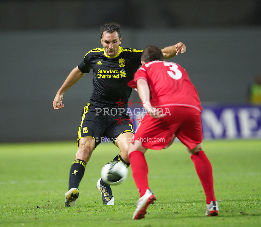 SKOPJE, MACEDONIA - Thursday, July 29, 2010: Liverpool's Sotirios Kyrgiakos in action against FK Rabotnicki during the UEFA Europa League 3rd Qualifying Round 1st Leg match at the National Arena Filip II Stadium. (Pic by David Rawcliffe/Propaganda)
