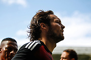 Daley Blind of Manchester United warms-up, before the Premier League match between Swansea City and Manchester United at the Liberty Stadium, Swansea, Wales on 19 August 2017. Photo by Andrew Lewis.