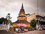 26 JUNE 2011 - CHIANG MAI, THAILAND:  The stupa at Wat Pan Tao in Chiang Mai, Thailand. The temple is notable for its teak viharn (prayer hall). It was built in the 14th century and was one of the royal temples of Chiang Mai.  PHOTO BY JACK KURTZ