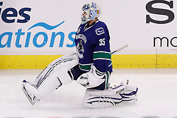 June 10, 2011; Vancouver, BC, CANADA; Vancouver Canucks goalie Cory Schneider (35) warms up before game five of the 2011 Stanley Cup Finals against the Boston Bruins at Rogers Arena. Vancouver defeated Boston 1-0. Mandatory Credit: Jason O. Watson / US PRESSWIRE