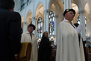 DENVER, CO - MAY 18: Denver Archbishop Samuel J. Aquila ordains seven new priests at the Cathedral Basilica of the Immaculate Conception on May 18, 2013, in Denver, Colorado. The ordained priests are the Rev. Scott Alexander Bailey, the Rev. Ronald Wayne Cattany, the Rev. Arturo Chagala, the Rev. José Aníbal Chicas-Guevara, the Rev. William Clemence, the Rev. Br. John Ignatius, the Rev. Br. Paul Kostka. (Photo by Daniel Petty/Denver Catholic Register)