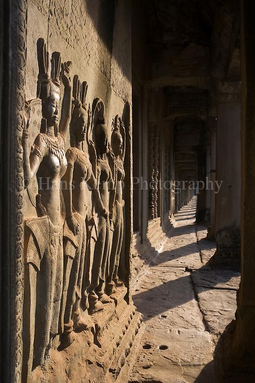 Bas-relief of Apsara dancers at Angkor Wat, Cambodia.