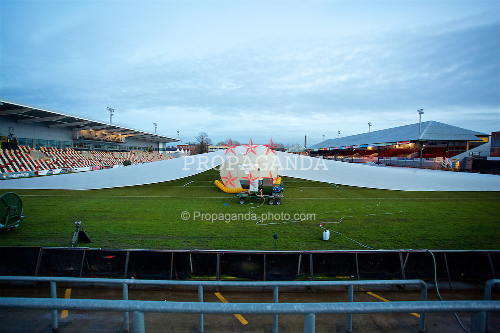 NEWPORT, WALES - Wednesday, December 21, 2016: A large inflated rain cover protects the Rodney Parade pitch ahead of the FA Cup 2nd Round Replay between Newport County AFC and Plymouth Argyle. (Pic by David Rawcliffe/Propaganda)