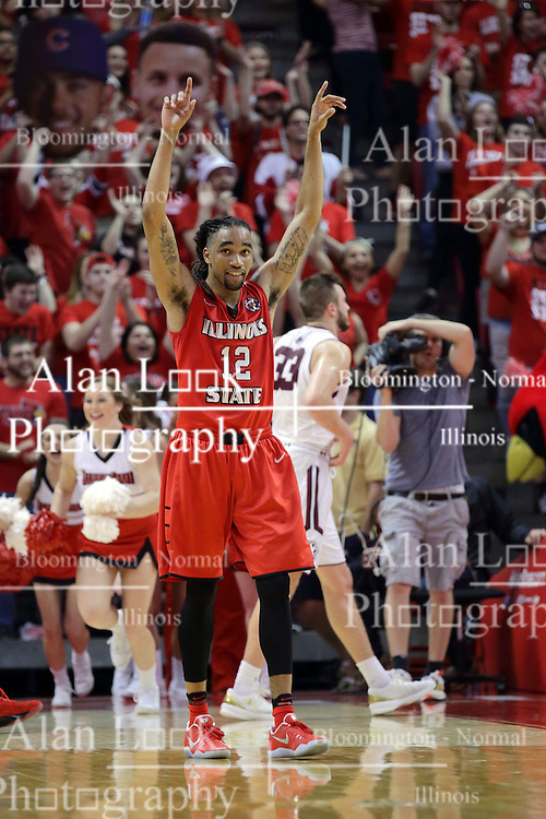 22 February 2017:  Tony Wills(12) celebrates the win on the way back to the bench during a College MVC (Missouri Valley conference) mens basketball game between the Southern Illinois Salukis and Illinois State Redbirds in  Redbird Arena, Normal IL