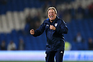 Neil Warnock, the Cardiff city manager shows his sheer delight as he celebrates at the end of the match after his team win 3-1 and go top of the Championship. EFL Skybet championship match, Cardiff city v Leeds Utd at the Cardiff city stadium in Cardiff, South Wales on Tuesday 26th September 2017.<br /> pic by Andrew Orchard, Andrew Orchard sports photography.